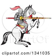 Cartoon Horseback Armored Jousting Knight On A Rearing Horse Holding A Lance