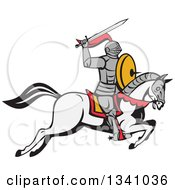 Clipart Of A Cartoon Horseback Armoured Knight Holding Up A Sword Royalty Free Vector Illustration