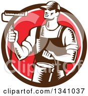 Clipart Of A Retro Woodcut Male Painter Holding A Roller Brush And Can In A Brown White And Red Circle Royalty Free Vector Illustration