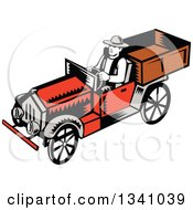 Clipart Of A Retro Woodcut Man Driving A Vintage Pickup Truck Royalty Free Vector Illustration by patrimonio