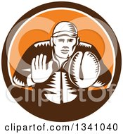 Clipart Of A Retro Woodcut Baseball Player Catcher In A Brown White And Orange Circle Royalty Free Vector Illustration