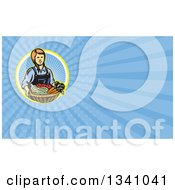 Retro Woodcut Female Farmer Holding A Basket Of Produce And Blue Rays Background Or Business Card Design