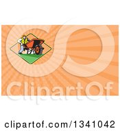 Clipart Of A Retro Gardener Man Pushing A Wheelbarrow In A Sunset Diamond And Pastel Orange Rays Background Or Business Card Design Royalty Free Illustration