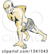 Clipart Of A Retro Sketched Or Engraved Man Doing One Handed Push Ups Royalty Free Vector Illustration