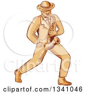 Retro Sketched Or Engraved Jazz Musician Playing A Saxophone