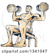 Clipart Of A Retro Sketched Or Engraved Bodybuilder Sitting On A Bench And Doing Shoulder Presses With Dumbbells Royalty Free Vector Illustration by patrimonio