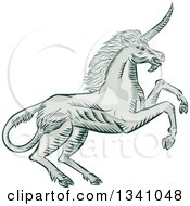 Retro Sketched Or Engraved Rearing Unicorn