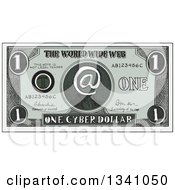 Clipart Of A Retro Sketched Or Engraved Cyber Dollar Bill Royalty Free Vector Illustration
