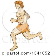 Clipart Of A Sketched Or Engraved Barefoot Male Runner Royalty Free Vector Illustration by patrimonio