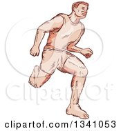 Clipart Of A Sketched Or Engraved Barefoot Male Marathon Runner Royalty Free Vector Illustration by patrimonio