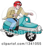 Clipart Of A Cartoon White Man Riding A Scooter Royalty Free Vector Illustration by patrimonio