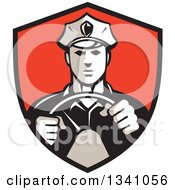 Clipart Of A Retro Male Police Officer Driving With Both Hands On The Steering Wheel In A Red And Black Shield Royalty Free Vector Illustration