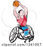 Cartoon White Disabled Man Playing Basketball In A Wheelchair