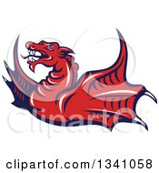 Clipart Of A Cartoon Angry Red Dragon Flying Royalty Free Vector Illustration