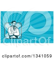 Clipart Of A Retro Male Doctor Or Veterinarian With Folded Arms And Blue Rays Background Or Business Card Design Royalty Free Illustration by patrimonio