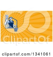Clipart Of A Retro Male Janitor Holding A Mop And Bucket Over An Orange Rays Background Or Business Card Design 2 Royalty Free Illustration by patrimonio