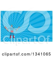 Clipart Of A Cartoon Muscular Male Super Handy Man Hero Holding Spanner And Monkey Wrenches And Blue Rays Background Or Business Card Design Royalty Free Illustration by patrimonio