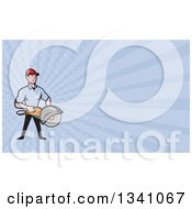 Clipart Of A Cartoon White Male Construction Worker Holding A Concrete Saw And Blue Rays Background Or Business Card Design Royalty Free Illustration