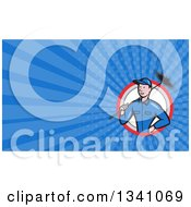 Clipart Of A Cartoon Chimney Sweep Man And Blue Rays Background Or Business Card Design 2 Royalty Free Illustration by patrimonio