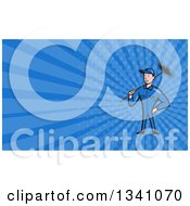 Clipart Of A Cartoon Chimney Sweep Man And Blue Rays Background Or Business Card Design 3 Royalty Free Illustration by patrimonio