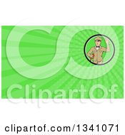 Retro White Male Gas Station Attendant Jockey Holding A Nozzle And Waving And Green Rays Background Or Business Card Design