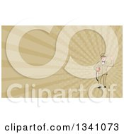 Clipart Of A Retro White Male Gas Station Attendant Jockey Holding A Nozzle And Waving And Tan Rays Background Or Business Card Design Royalty Free Illustration by patrimonio