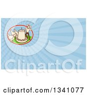 Clipart Of A Retro Cartoon Farmer With Chickens At A Feeder And Blue Rays Background Or Business Card Design Royalty Free Illustration