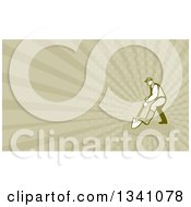 Clipart Of A Retro Gardener Digging With A Shovel And Tan Rays Background Or Business Card Design Royalty Free Illustration