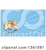 Clipart Of A Retro Worker Carrying A Log And Blue Rays Background Or Business Card Design Royalty Free Illustration