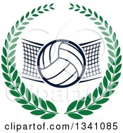 Clipart Of A Volleyball And Net In A Green Wreath Royalty Free Vector Illustration