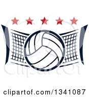 Clipart Of A Volleyball And Net With Red Stars Royalty Free Vector Illustration by Vector Tradition SM