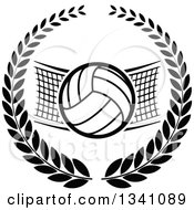 Clipart Of A Black And White Volleyball And Net In A Wreath Royalty Free Vector Illustration