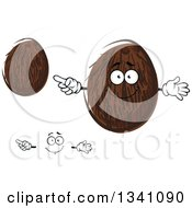 Clipart Of A Cartoon Face Hands And Coconuts 2 Royalty Free Vector Illustration