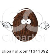Clipart Of A Cartoon Coconut Character Pointing Royalty Free Vector Illustration