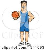 Cartoon Grinning Male Basketball Player