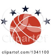 Clipart Of A Basketball With Black Stars Royalty Free Vector Illustration