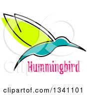 Clipart Of A Sketched Green And Turquoise Hummingbird And Pink Text Royalty Free Vector Illustration