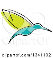 Clipart Of A Sketched Green And Turquoise Hummingbird Royalty Free Vector Illustration