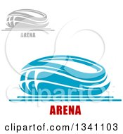 Clipart Of Gray And Blue Sports Stadium Buildings With Text Royalty Free Vector Illustration