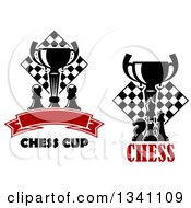 Clipart Of Black And White Chess Trophy Cups Pieces And Boards With Text Royalty Free Vector Illustration