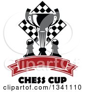 Clipart Of A Black And White Chess Trophy Cup Pieces And A Board Over A Blank Red Ribbon Banner And Text Royalty Free Vector Illustration