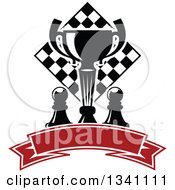 Clipart Of A Black And White Chess Trophy Cup Pieces And A Board Over A Blank Red Ribbon Banner Royalty Free Vector Illustration