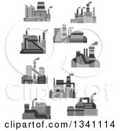 Clipart Of Plant Factory Buildings Royalty Free Vector Illustration