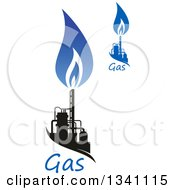 Black And Blue Natural Gas And Flame Designs With Text 20