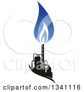 Clipart Of A Black And Blue Natural Gas And Flame Design 21 Royalty Free Vector Illustration