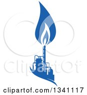 Clipart Of A Silhouetted Blue Natural Gas And Flame Factory 4 Royalty Free Vector Illustration