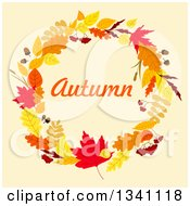 Clipart Of A Colorful Autumn Leaf Wreath With Text 10 Royalty Free Vector Illustration