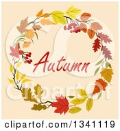 Clipart Of A Colorful Autumn Leaf Wreath With Text 11 Royalty Free Vector Illustration