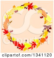 Clipart Of A Colorful Autumn Leaf Wreath Over Pastel Pink 3 Royalty Free Vector Illustration
