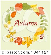 Clipart Of A Colorful Autumn Leaf Wreath With Text 12 Royalty Free Vector Illustration